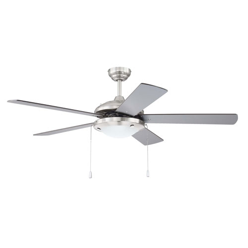 Nikia Brushed Polished Nickel Two-Light 52-Inch Ceiling Fan