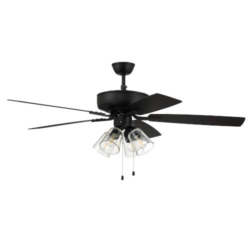 Pro Plus Flat Black 52-Inch Four-Light Ceiling Fan with Clear Glass Bell Shade