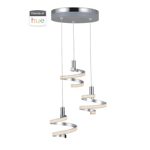 Matte Silver and Chrome Three-Light LED Pendant