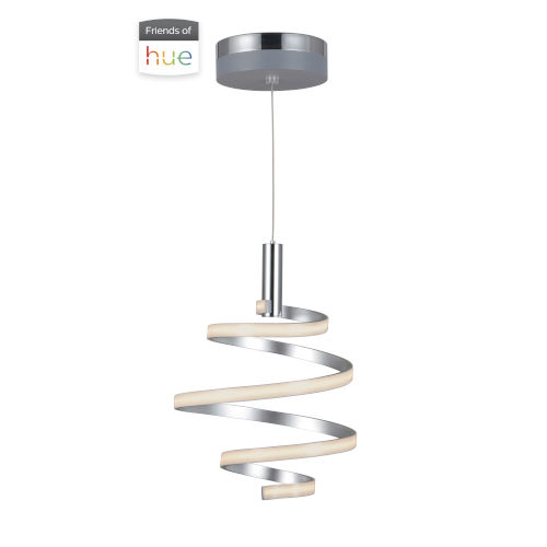 Matte Silver and Chrome 16-Inch LED Pendant