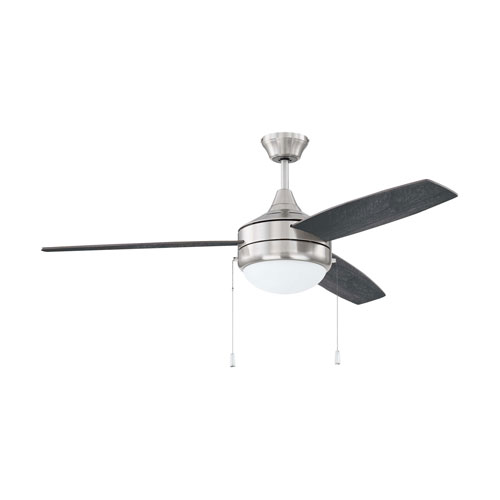 Phaze 3 Brushed Polished Nickel Two-Light Led 52-Inch Ceiling Fan With Silver Blade