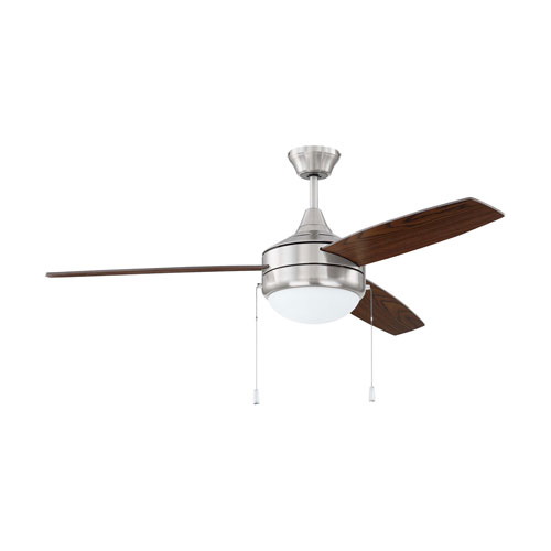Phaze 3 Brushed Polished Nickel Two-Light Led 52-Inch Ceiling Fan With Walnut Blade