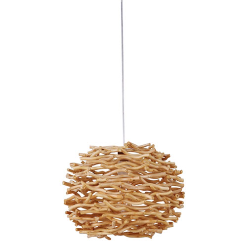 Swag Natural One-Light Pendant with Natural Wood Shade