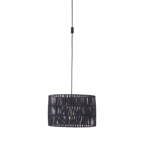 Swag Flat Black One-Light Pendant with Paper Tape Shade in Flat Black