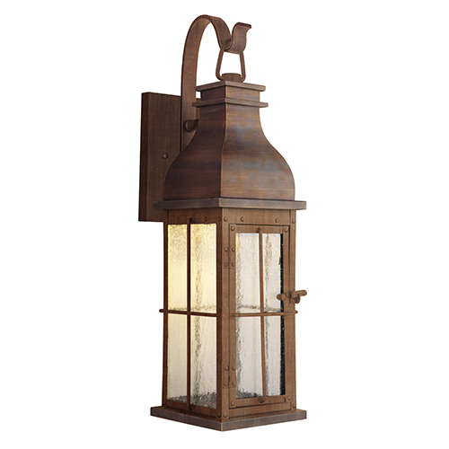 Vincent Weathered Copper Seven-Inch LED Outdoor Wall Lantern