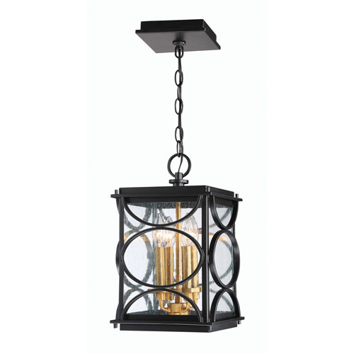 Hamilton Midnight and Patina Aged Brass Four-Light Outdoor Pendant
