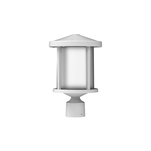 Textured White One-Light Outdoor Post Mount