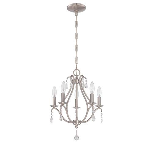 Nickel brushed mini chandeliers free shipping bellacor brushed nickel five light mini chandelier aloadofball Images