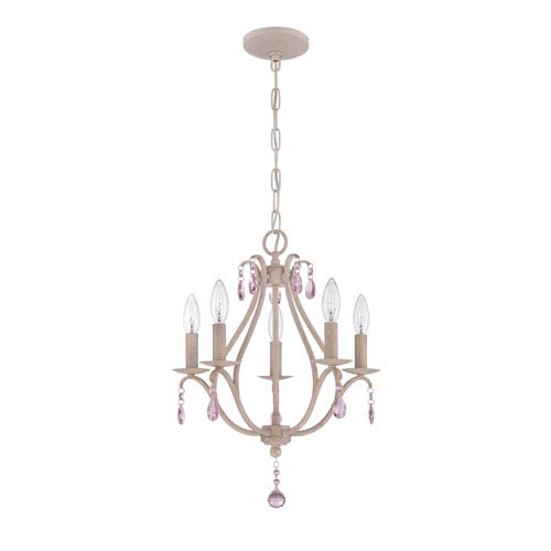 Antique Linen Five-Light Mini Chandelier with Pink Crystal