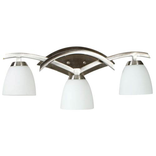 Craftmade Viewpoint Brushed Nickel Three-Light Bath Fixture with Cased Frost White Glass