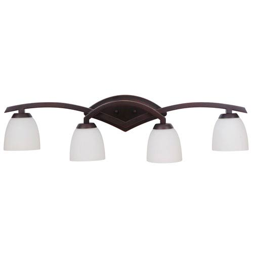 Viewpoint Oil Bronze Gilded Four-Light Vanity with White Frosted Glass Shade