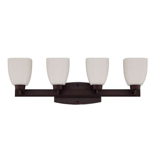Craftmade Bridwell Oiled Bronze Four-Light Vanity with Frosted White Glass Shade