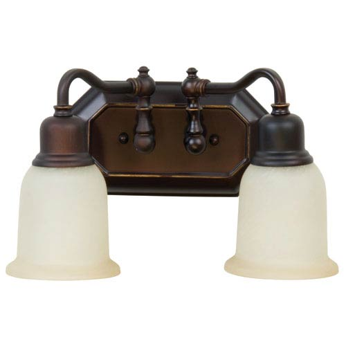 Heritage Oiled Bronze Gilded Two-Light Bath Fixture with Tea-Stained Glass