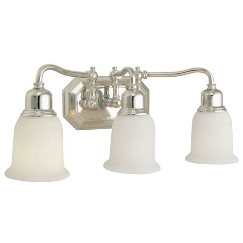 Craftmade Heritage Chrome Three-Light Bath Fixture with Frosted White Glass