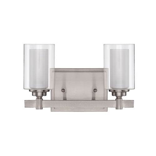 Craftmade Celeste Brushed Polished Nickel Two-Light Vanity with Frosted Glass