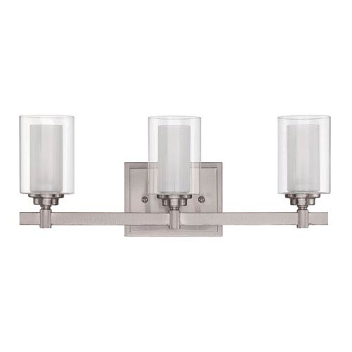 Craftmade Celeste Brushed Polished Nickel Three-Light Vanity with Frosted Glass