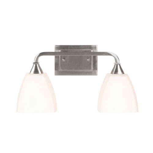 Craftmade Lawton Brushed Nickel Two-Light Vanity with White Frosted Glass Shade