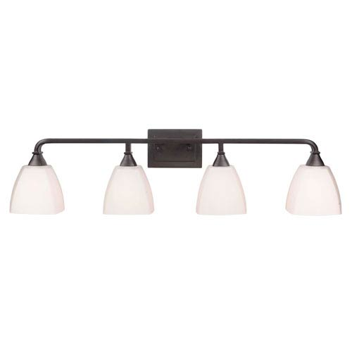 Craftmade Lawton Espresso Four-Light Vanity with White Frosted Glass Shade