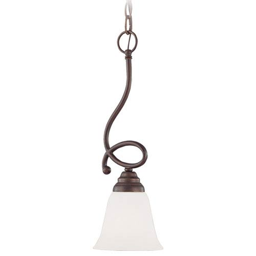 Craftmade Cordova Old Bronze One-Light Mini Pendant with White Frosted Glass Shade