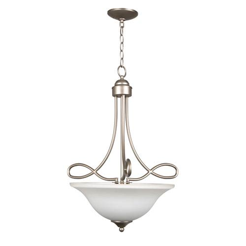 Craftmade Cordova Satin Nickel Three-Light Pendant with White Frosted Glass Shade