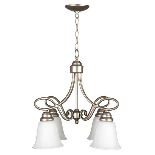 Craftmade Cordova Satin Nickel Four-Light Chandelier with White Frosted Glass Shade