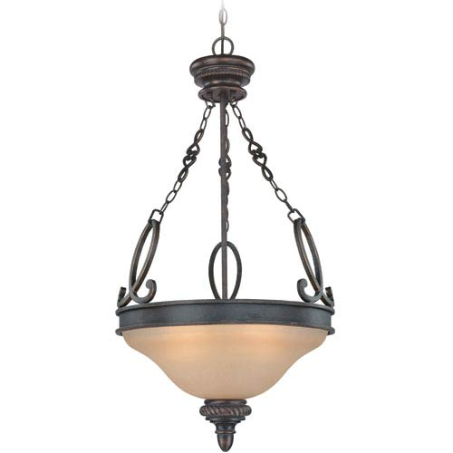 Highland Place Mocha Bronze Three Light Inv. Pendant