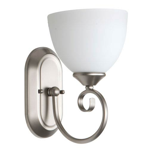 Craftmade Raleigh Satin Nickel One-Light Bath Sconce with White Frosted Glass Shade