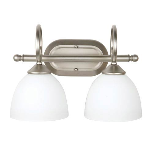 Craftmade Raleigh Satin Nickel Two-Light Vanity with White Frosted Glass Shade