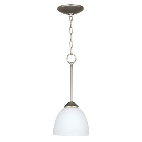 Craftmade Raleigh Satin Nickel One-Light Mini Pendant with White Frosted Glass Shade