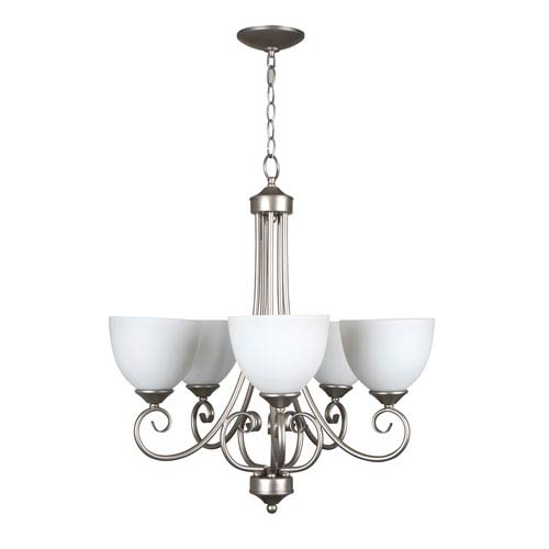 Craftmade Raleigh Satin Nickel Five-Light Chandelier with White Frosted Glass Shade