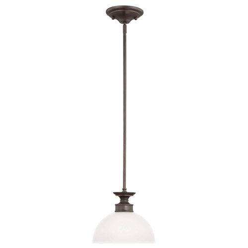 Craftmade Spencer Bronze One-Light Mini Pendant with White Frosted Glass Shade