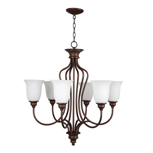 Craftmade Linden Lane Old Bronze Six-Light Chandelier with White Frosted Glass Shade