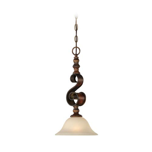 Seville Spanish Bronze One-Light Mini Pendant with Creamy Frosted Glass Shade
