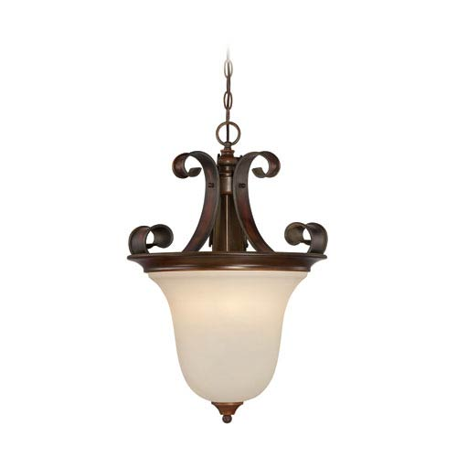 Seville Spanish Bronze Four-Light Pendant with Creamy Frosted Glass Shade