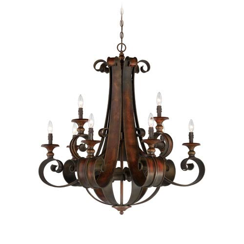 Seville Spanish Bronze Nine-Light Chandelier