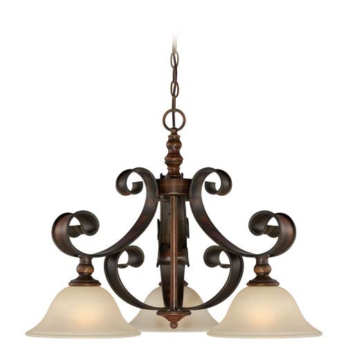 Seville Spanish Bronze Three-Light Chandelier with Creamy Frosted Glass Shade