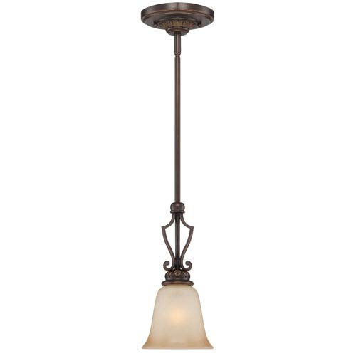 Josephine Antique Bronze One-Light Mini Pendant with Salted Caramel Glass Shade