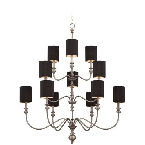 Willow Park Antique Nickel 12-Light Chandelier with Black Fabric Shade