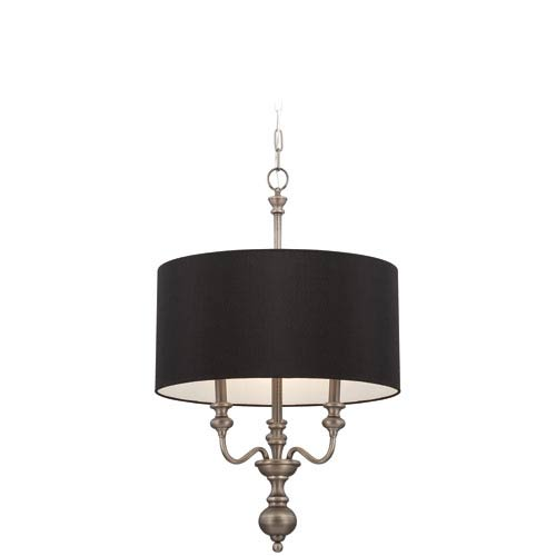 Willow Park Antique Nickel Three-Light Chandelier with Black Fabric Shade