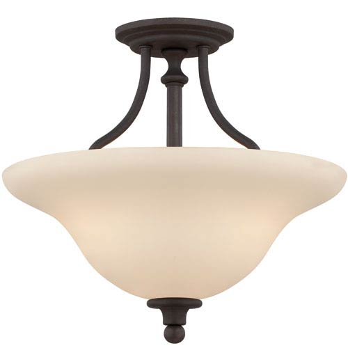 Craftmade Willow Park Gothic Bronze Three-Light Semi-Flush Mount with Creamy Frosted Glass Shade