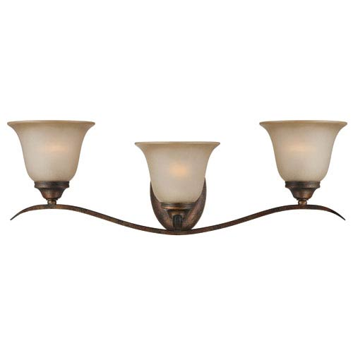 McKinney Burleson Bronze Three-Light Vanity with Light Tea Stain Glass Shade
