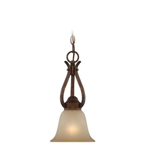 Craftmade McKinney Burleson Bronze One-Light Mini Pendant with Salted Caramel Glass Shade