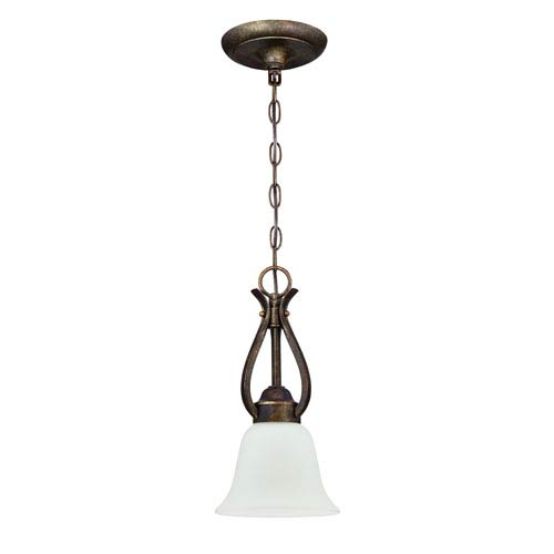 Craftmade McKinney Burleson Bronze One-Light Mini Pendant with White Frosted Glass Shade