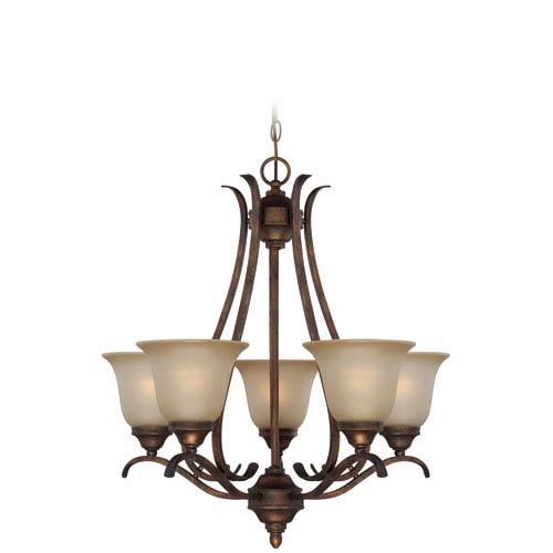 McKinney Burleson Bronze Five-Light Chandelier with Salted Caramel Glass Shade