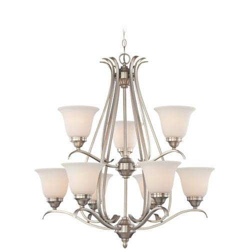 Craftmade McKinney Brushed Nickel Nine-Light Chandelier with Frosted White Glass Shade