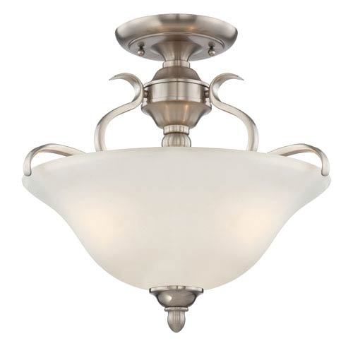 Craftmade McKinney Brushed Nickel Three-Light Semi-Flush Mount with Frosted White Glass Shade