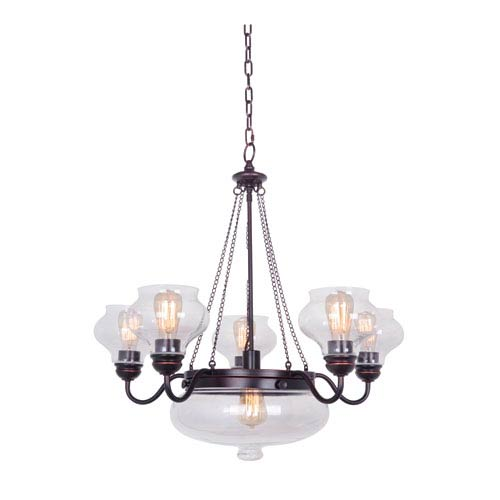 Yorktown Oil Rubbed Gilded Six-Light Chandelier with Antique Clear Glass Shade