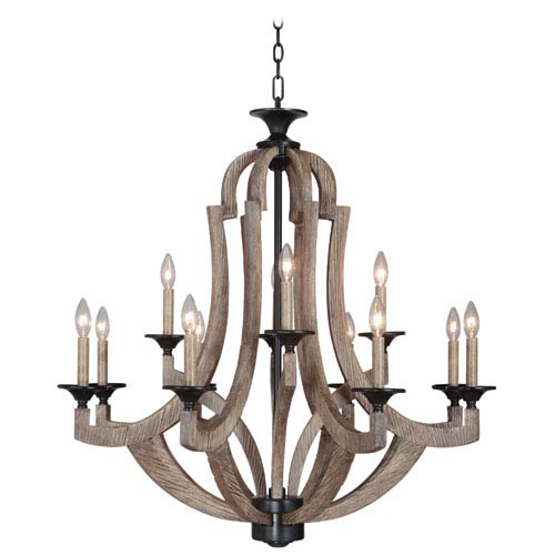 Winton Weathered Pine and Bronze 12-Light Chandelier