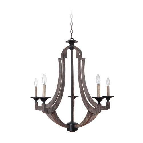 Winton Weathered Pine and Bronze Five-Light 29-Inch Chandelier