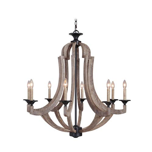 Winton Weathered Pine and Bronze Eight-Light Chandelier